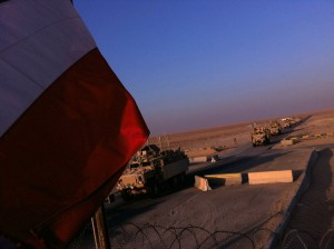 IPhone photo of U.S. troops entering Kuwait from Iraq.