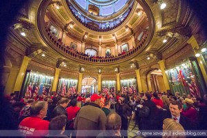 Union members fill the Michigan Capitol building.