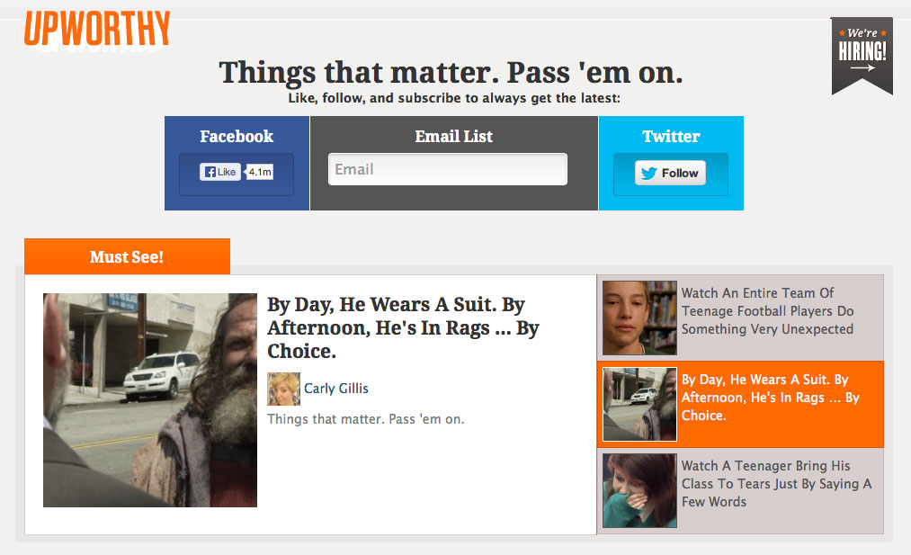 Upworthy's homepage features stories it hopes will go viral.