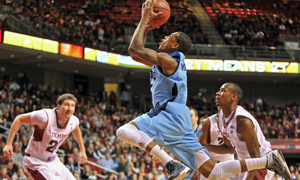 Rhode Island Rams guard Xavier Munford takes a shot during a basketball game against Temple on March 2, 2013 in Philadelphia.