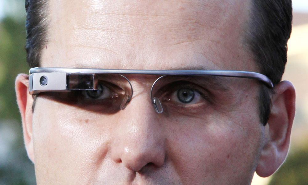 A man wears Google Glass to a movie premiere in Los Angeles.