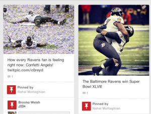 Screenshot  of the Ravens Super Bowl XLVII victory documented on the International Center for Media & the Public Agenda Pinterest page.