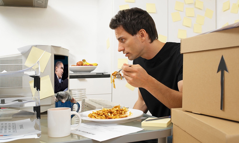 AJR photo illustration. Man eating pasta: Victor1558/Flickr. Mole: Mick E. Talbot/Flickr. Barack Obama: Shutterstock/spirit of america
