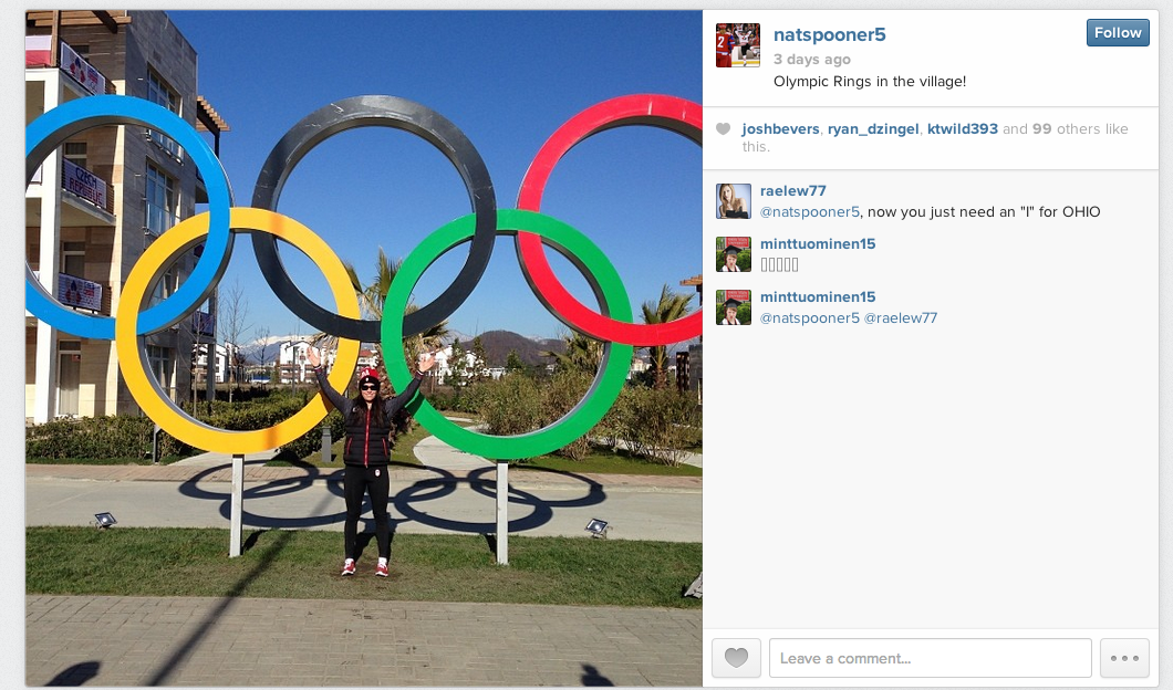 Screenshot from Instagram user natspooner5 of the Olympic rings in Sochi.