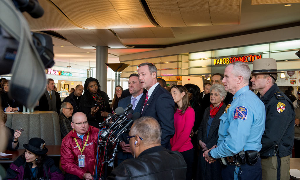 Maryland Gov. Martin O'Malley visits the Mall in Columbia after a fatal shooting. Credit: Jay Baker via Creative Commons on Flickr.
