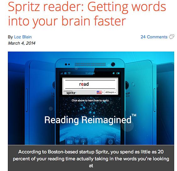 gizmag story about Spritz Reader app