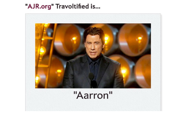 "Screenshot from Slate.com of AJR.org ""Travoltified."""