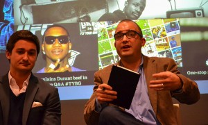 Zach Leonsis, left, Monumental Sports manager of business development, and Dan Shanoff, USA Today director of audience development, speak at a panel on entrepreneurial journalism sponsored by the Shirley Povich Center for Sports Journalism at the University of Maryland Philip Merrill College of Journalism on March 12, 2014.