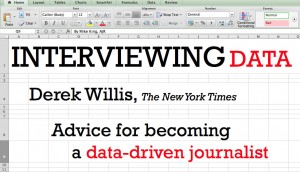 "Derek Willis, a New York Times developer involved with Times digital data venture The Upshot, spoke about ""interviewing data"" to a packed room this morning at the Philip Merrill College of Journalism on the second day of the Journalism Interactive 2014 conference."