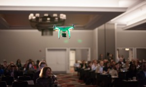 A drone flies through the 2014 Journalism Interactive Conference in College Park, Md.
