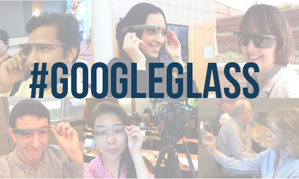 Participants experiment with Google Glass at the recent Journalism Interactive conference at the University of Maryland.