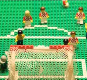 Look at the Lego guys playing soccer. Aren't they cute? Screenshot from The Guardian's Brick-by-Brick series.