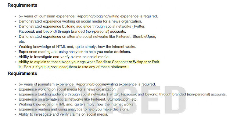 A screenshot of a portion of the original Washington Post job advertisement for social media editor, posted 6/20/14.