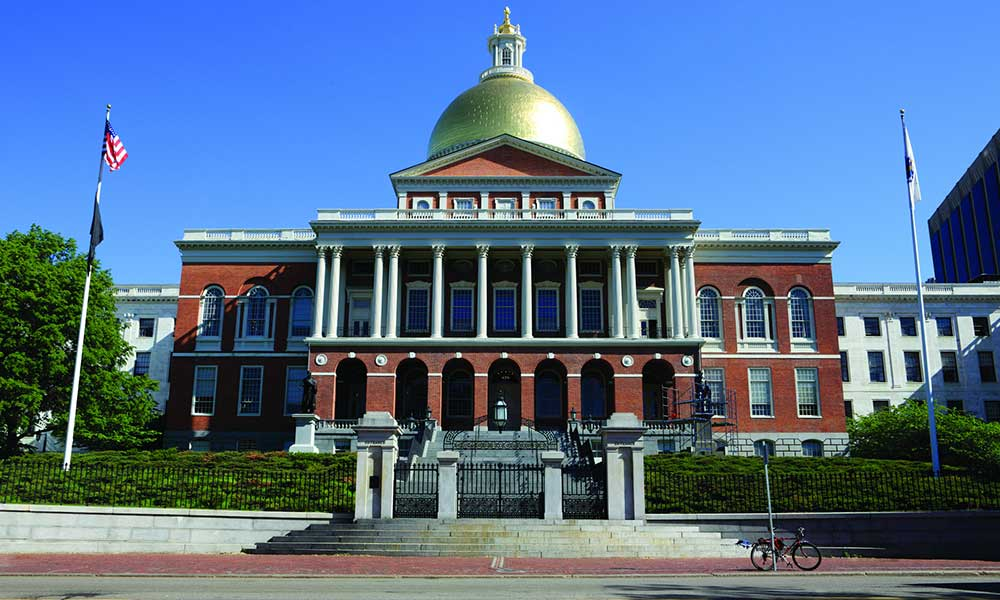 The Massachusetts State House in Boston.  Boston University journalism students cover the legislature.