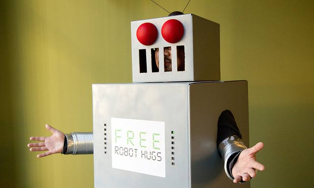Huggable robot picture by Ben Husmann via the Creative Commons license on Flickr.