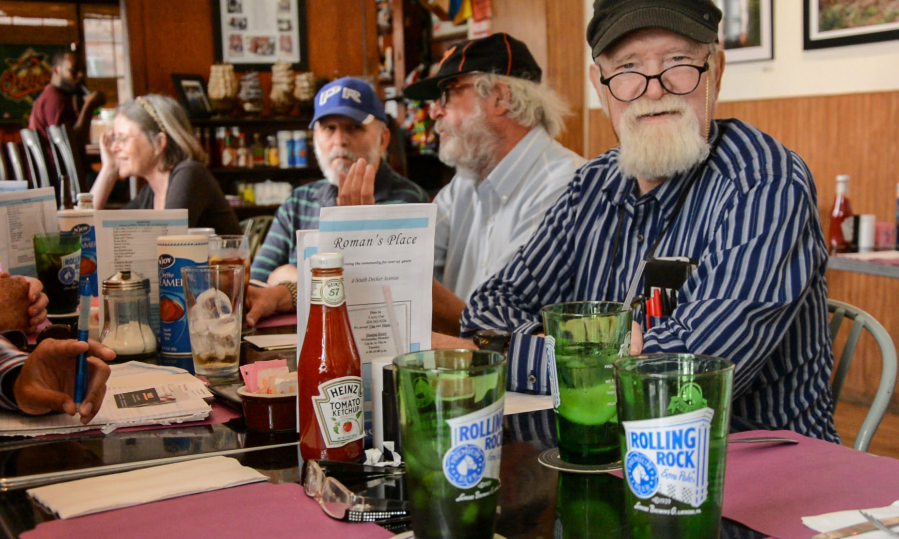 Members of the Aging Newspapermen's Club in Baltimore meet for lunch. L to R: Eileen O'Brien, AL Forman, Ken Sokolow; and Holton Brown.