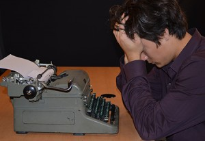 Cory Blair and his typewriter