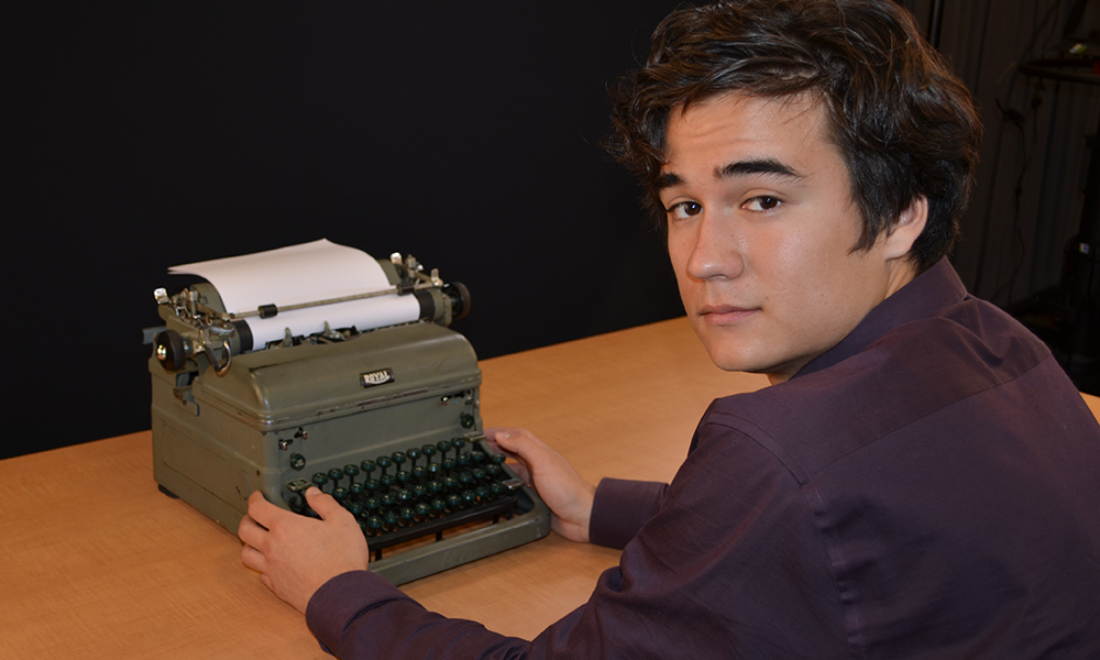 Cory Blair and typewriter