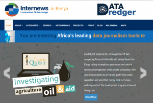 A screenshot of Data Dredger, a resource for Kenyan journalists to download, embed and publish visualizations of Kenyan data.