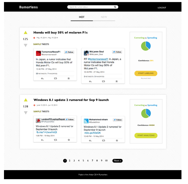 A screenshot of RumorLens, a prototype website that will allow citizen journalists to screen possible rumors spreading on Twitter.