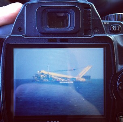 A closeup of the tugboat that some Twitter users mistook for a plane crash near the Canary Islands (screenshot)