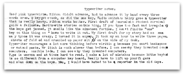 Cory Blair's typewritten notes