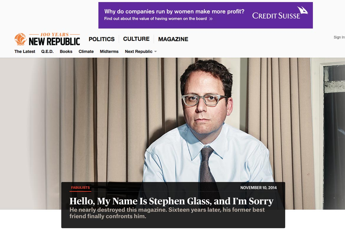 Screenshot of New Republic's look back at  Stephen Glass, 16 years later.