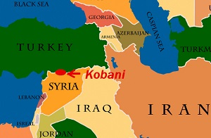 Kobani sits on the border of Syria and Turkey.