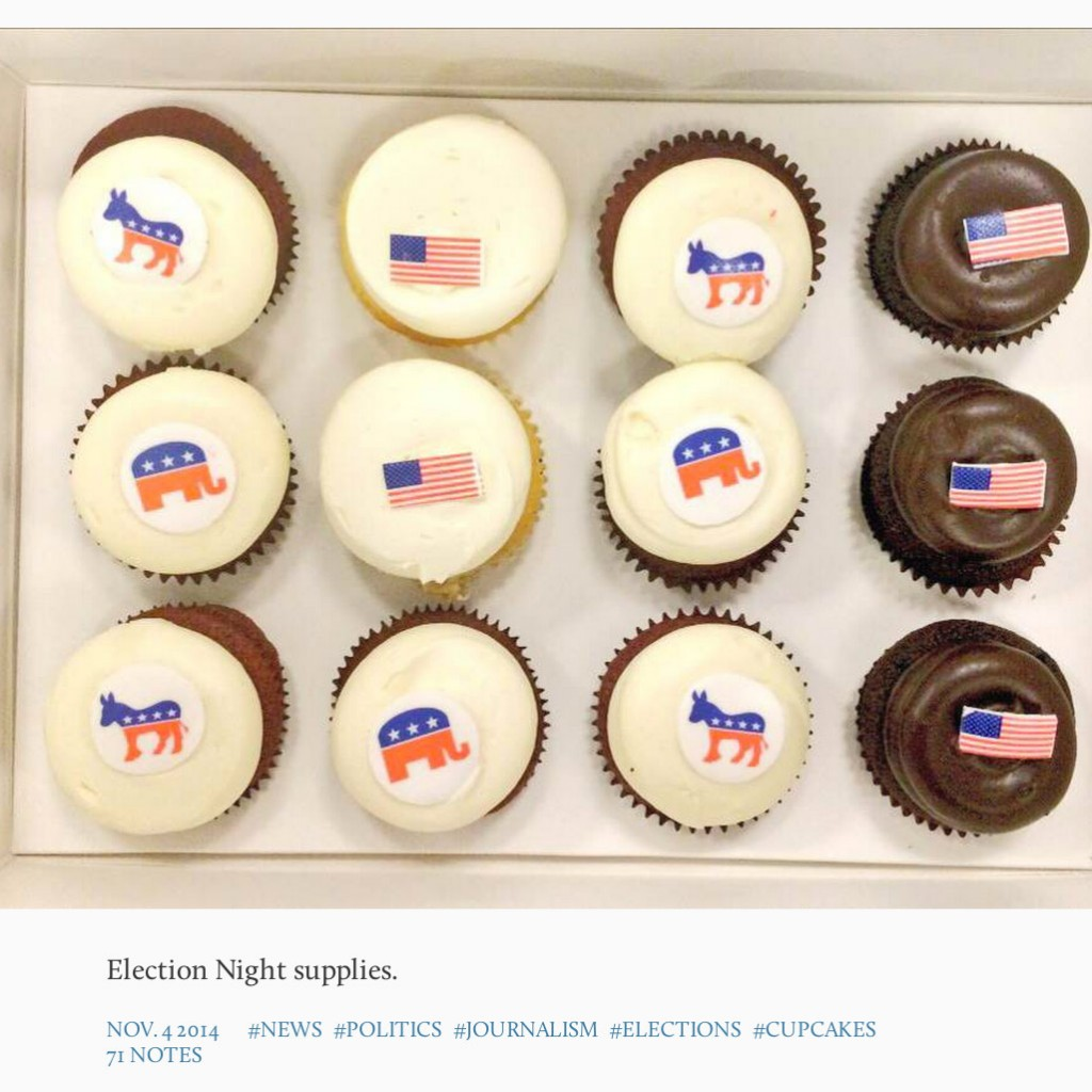 (Screenshot) A recent Washington Post Tumblr post highlighted some Election Night cupcakes.