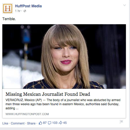 The Huffington Post said it didn't intentionally post a photo of Taylor Swift on the story of a Mexican journalists found dead.