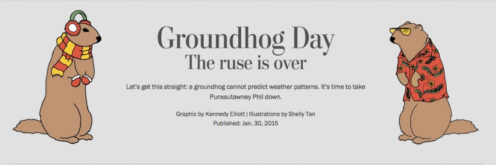 A screenshot from The Washington Post's recent data visualization project on Groundhog Day.
