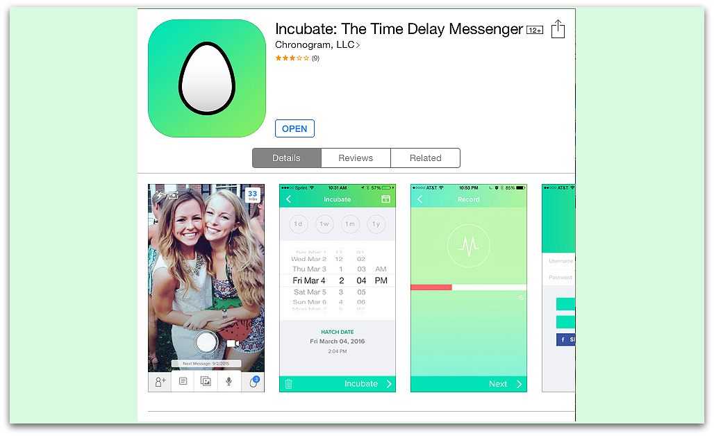 Incubate offers a time-delay messaging service that could be used for storytelling.