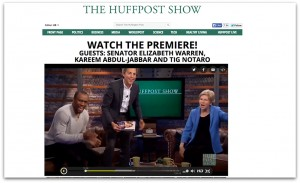 Co-hosts of The HuffPost Show, Roy Sekoff and Marc Lamont Hill, interview Sen. Elizabeth Warren on the debut episode.