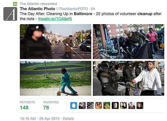 The Atlantic ran a photo gallery of the cleanup in Baltimore.