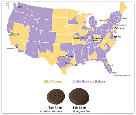 Interactive map of  Girl Scout Cookies -- By Los Angeles Times