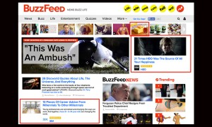 Adblock Plus removed sponsored content from BuzzFeed's home page, including the three posts outlined in red in this AJR screenshot.