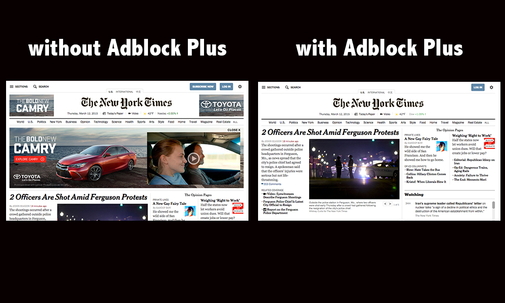 Adblock Plus removed the large Camry commercial from the top of  the New York Times homepage.
