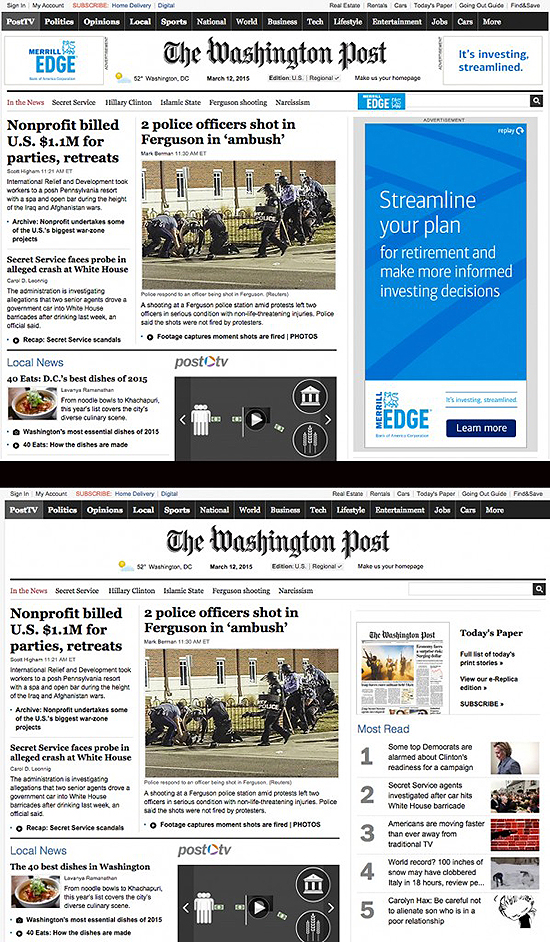 Adblock Plus removed a large Merrill Lynch ad from the sidebar of the Washington Post home page